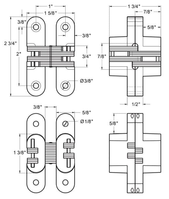 Deltana DCH208 Invisible Hinge